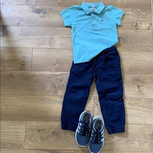 Combo polo shirt, pants and shoes 4 years old